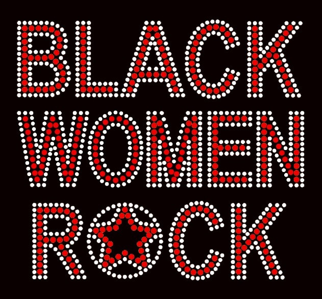 Black Women Rock Red Text Afro Rhinestone Transfer Texas