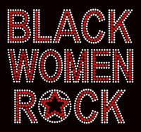 Black Women Rock Red Text Afro Rhinestone Transfer