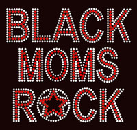 Black Moms Rock Red Text Afro Rhinestone Transfer