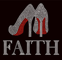 Faith Heel Stiletto Religious Rhinestone Transfer