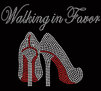 Walking in Favor Heels Stiletto (Large) Religious Rhinestone Transfer