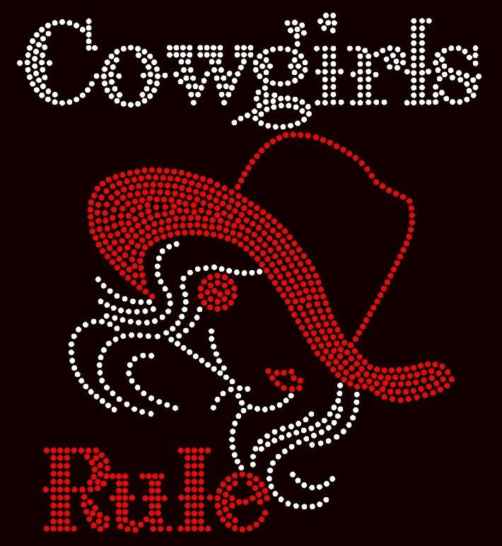b5e08c4555434 ... Cowgirls Rule Girl with Hat Rhinestone Transfer. Image 1. Loading zoom