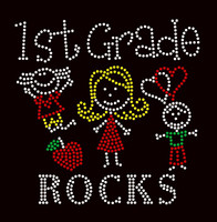 1st Grade Rocks (4 colors) Kids School Rhinestone Transfer