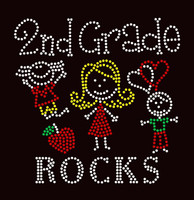 2nd Grade Rocks (4 colors) Kids School Rhinestone Transfer
