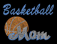 Basketball Mom Blue Text Rhinestone Transfer