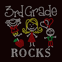 3rd Grade rocks (4 colors) Kids School Rhinestone Transfer