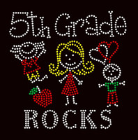5th Grade Rocks (4 colors) Kids School Rhinestone Transfer