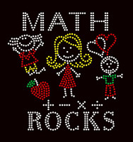Math Rocks (4 colors) Kids School Rhinestone Transfer
