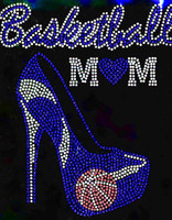 Basketball Mom Heel Stiletto Cobalt Blue Rhinestone Transfer