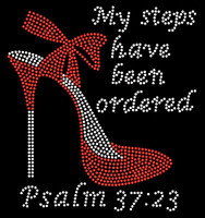 "(RED) My Steps have been ordered Heel Stiletto Psalm 37:23 Size 8.1""x 8.9"" Religious Rhinestone Transfer"