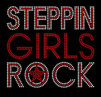 Steppin Girls Rock Rhinestone Transfer