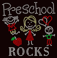 PreSchool Rocks (4 colors) Kids School Rhinestone Transfer