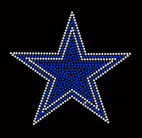 "Blue Star 6.5"" Rhinestone Transfer"