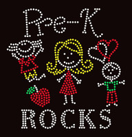 Pre-K Rocks (4 colors) Kids School Rhinestone Transfer