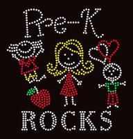 Pre-K Rocks (4 colors) Kids School Rhinestone Transfer