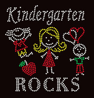 Kindergarten Rocks (4 colors) School Rhinestone Transfer