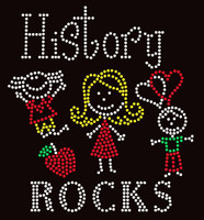 History Rocks (4 colors) School Rhinestone Transfer