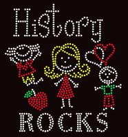 History Rocks (4 colors) School Rhinestone Transfer