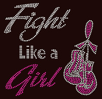 (Fuchsia) Fight like a Girl Gloves Ribbon Breast Cancer Awareness Rhinestone Transfer