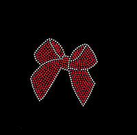 "5"" inches Red Bow Rhinestone Transfer"