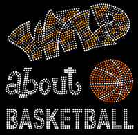 (Large) Wild About Basketball New Rhinestone Transfer Iron on