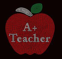 A+ Teacher Apple School Rhinestone transfer iron on