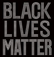 Black Lives Matter (Large) Bold Text Afro Rhinestone Transfer