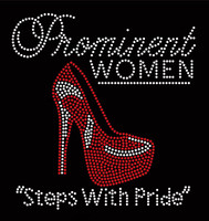 Prominent Women Steps with Pride Heel Stiletto RED Rhinestone Transfer