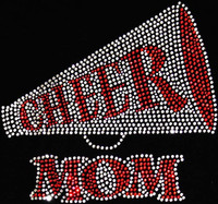 (RED) Cheer Mom inside Horn Megaphone Rhinestone Transfer