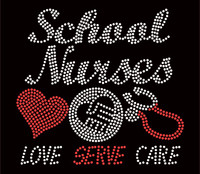 School Nurses Love Serve Care Stethoscope Rhinestone Transfer