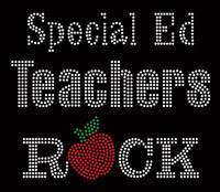 Special Ed Teachers Rock apple School Rhinestone transfer