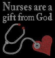 Nurses are a gift from God Stethoscope Rhinestone Transfer