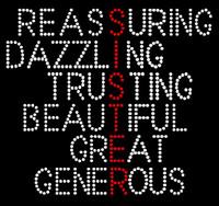 Sister Words Reassuring Dazzling Trusting Great Generous Rhinestone Transfer