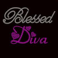 Blessed Diva PINK Fuchsia Religious Rhinestone Transfer