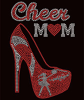 Cheer Mom Heel Red Rhinestone Transfer
