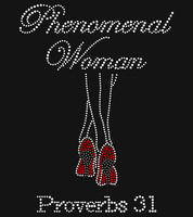 Phenomenal Woman Leg Heels Proverbs 31 Rhinestone Transfer