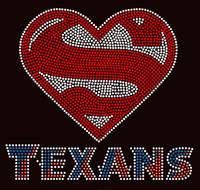 Super Texans Football Rhinestone Transfer Iron on