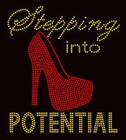 Stepping into Potential Full Heel Stiletto Golden Rhinestone Transfer