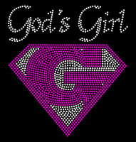 God's Girl (FUCHSIA Hot Pink) Custom Order Religious Rhinestone Transfer