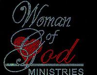 Women of God Ministries Red Religious Rhinestone Transfer