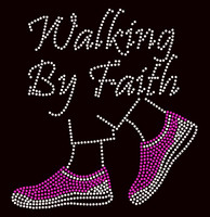 Walking by Faith Tennis Shoes Fuchsia PINK sneaker Rhinestone Transfer