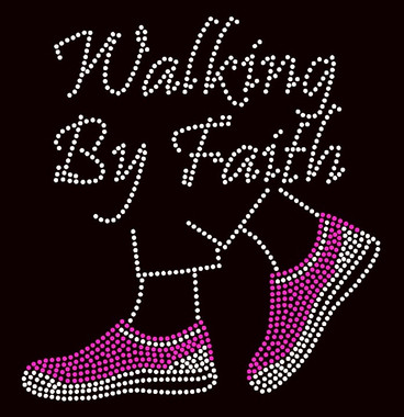 Walking By Faith Tennis Shoes Fuchsia Pink Rhinestone