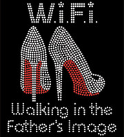 WiFi Heels Stiletto Walking in the Father's image Red Rhinestone Transfer