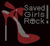 Saved Girls Rock Red Heel Stiletto Religious Rhinestone Transfer