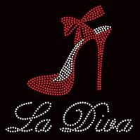 La Diva Heel Stiletto RED Rhinestone Transfer