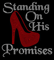 (Red Heel) Standing On His Promises Heel Stiletto Religious Rhinestone Transfer