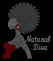 Natural Diva Afro Girl Red Earing Rhinestone Transfer
