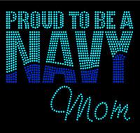Proud To Be Navy Mom Rhinestone Transfer Iron on