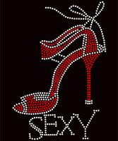 Sexy Heel Stiletto red Rhinestone Transfer
