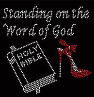 (Bible) Standing on the word of God Heel Stiletto Religious Rhinestone Transfer